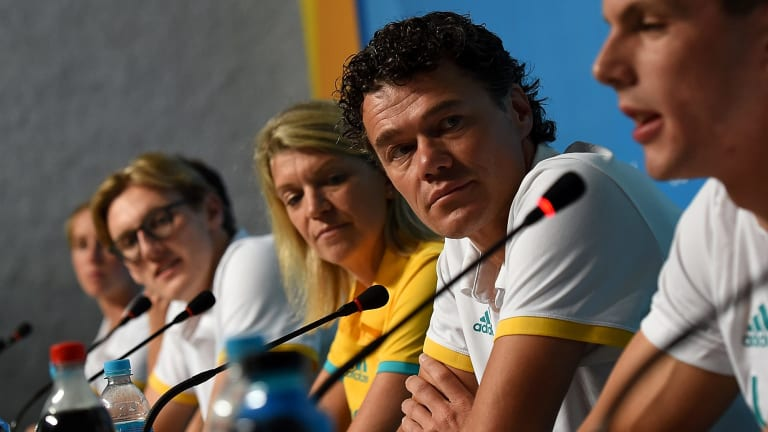Question to answer: The Rio Olympics were notable for the success of Mack Horton and Kyle Chalmers but underperforming stars such as Cate Campbell, Emily Seebohm and Cameron McEvoy saw Swimming Australia head coach Jacco Verhaeren (second from right) left with some explaining to do.