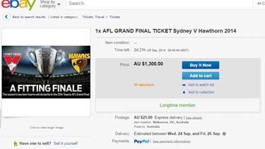 Grand Final ticket scalping on eBay.