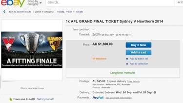 Grand Final ticket scalping on eBay.