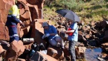CSIRO field staff taking colour data using the CM-700d on the Burrup Peninsula, as published in a CSIRO report.