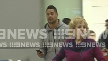 Jarryd Hayne did not answer questions when he arrived in Tel Aviv.