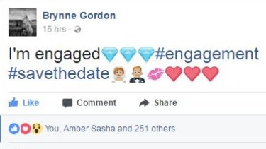 Gordon took to Facebook to share her engagement news.