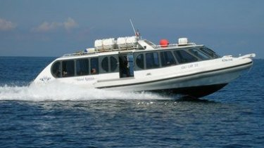 A Gili Cat fast boat similar to the one on which there was an explosion on Thursday.