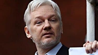 Julian Assange on the balcony of the Ecuadorian embassy.