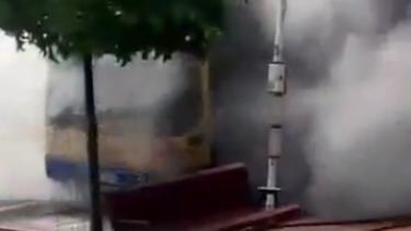 Smoke billowing from the bus at Moorooka.