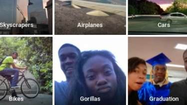 """""""Y'all f...ed up"""": Jacky Alcine's tweet shows selfies with his friend automatically sorted into a folder tagged """"Gorillas""""."""