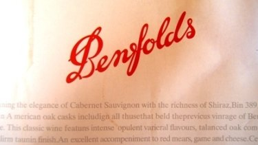 The fake wine brand Benfolds mimics the calligraphy of the famous Penfolds brand.