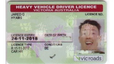 Jared Hyams' old VicRoads driver's licence.