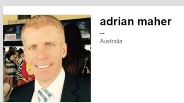 """The LinkedIn profile of Adrian Maher, who features in the Higgins """"fake family""""."""