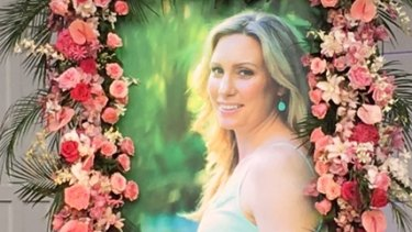 An image of Justine Damond at the memorial held for the slain Australian at the Lake Harriet Bandshell in Minneapolis.