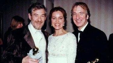 Ian McKellen, Greta Scacchi and Alan Rickman at the 1997 Golden Globe Awards.
