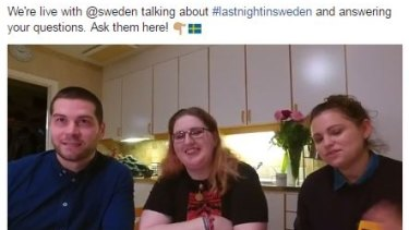 Emma Johansson, centre, talking about #LastnightinSweden non-event live on Facebook.