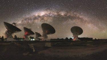 Under the Milky Way: the Australia Telescope Compact Array near Narrabri.