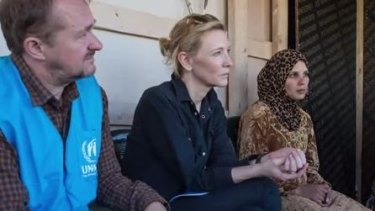 Andrew Upton and Cate Blanchett during their visit to Lebanon.