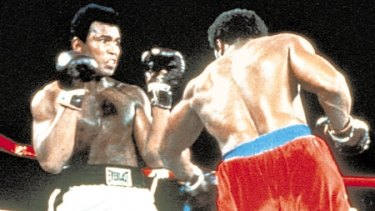 Fight time ... Muhammad Ali and Joe Frazier during the Rumble in the Jungle
