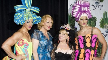 Bette Midler, lead producer of the 2011 Broadway production, with stars Nick Adams, Tony Sheldon and Will Swenson.