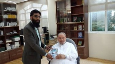 """Yusuf al-Qaradawi has been called a """"global imam"""" for his influence in Muslim communities worldwide. Here he is seen with Waseem Razvi, the founder and president of the Islamic Research and Educational Academy in Melbourne."""