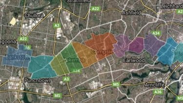 The areas to be affected by development along the Sydenham-to-Bankstown line.