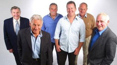 Legends: (From left) Bob Davis, Tom Hafey, Ron Barassi, Ken Hands and Ron Carter with Rohan Connolly in 2008.