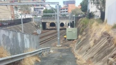 Torrential rain simply runs down hard-paved areas to Fortitude Valley train station six metres lower than ground level.