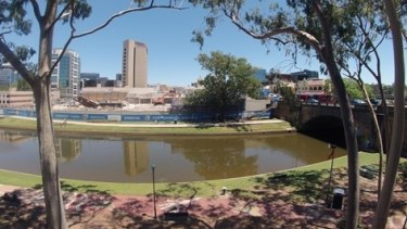 The view of the site of the future Powerhouse Museum from across the Parramatta River.