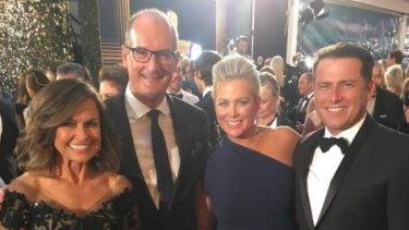 The hosts of rival breakfast programs <i>Sunrise</i> and <i>Today</i> pose for a photo at the Logies.