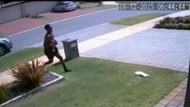 CCTV images appear to show the man pulling up outside a home to snatch a parcel from the porch