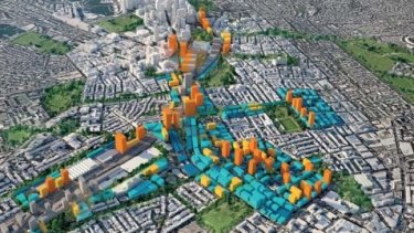 The 'massing strategy', showing potential building sizes for the Central to Eveleigh area.