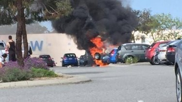 The RAV 4 was destroyed by fire on Thursday afternoon.