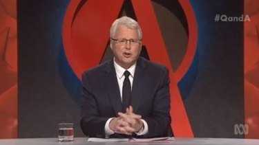 Q&A host Tony Jones delivered the news of Prime Minister Tony Abbott falling to Malcolm Turnbull in a Liberal Party leadership spill with aplomb.