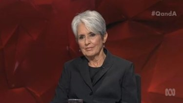 Calm, graceful and polite .... Singer and social activist Joan Baez won the night on Q&A with great insights and a performance of Steve Earle's 'God is God'.