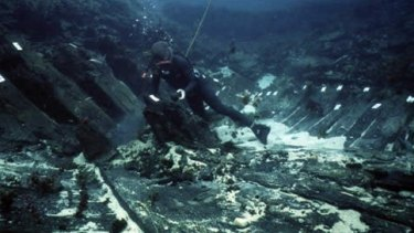 A diver on the wreck of the Batavia, one the four Dutch ships already discovered off the WA coast.