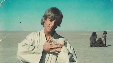 Mark Hamill as Luke Skywalker on the first day of filming Star Wars in 1976.