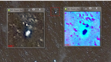 Images of an object in the water identified by the French Military Intelligence Service.