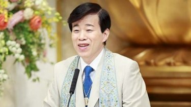 Self-styled Japanese master Ryuho Okawa, founder of the Happy Science cult.