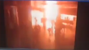 A screenshot of CCTV footage, reportedly capturing the moment of an explosion inside the airport.