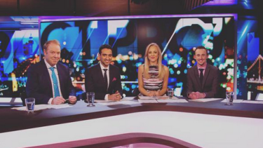 From left: <i>The Project's</i> Peter Helliar, Waleed Aly, Carrie Bickmore and guest host Andrew Guy.