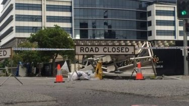 The scene of a crane collapse at Newstead, where a man died.