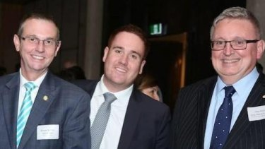 At 26, Mitchell Price (centre) is already well-established in the Liberal Party, where he works as a senior adviser to Coogee MP Bruce Notley-Smith (left). Also pictured is Liberal MP Don Harwin (right).