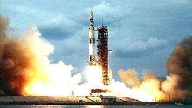 The mighty Saturn V rocket bound for space.