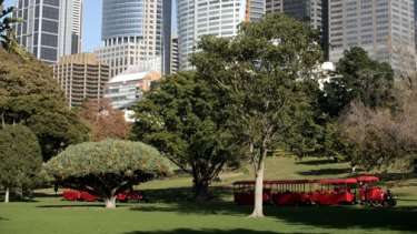 Red tourist trains run through the Royal Botanic Garden in Sydney.