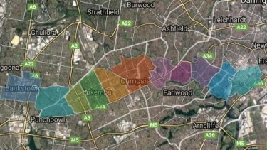 A map of the area affected along the Sydenham to Bankstown line.