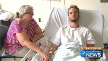 Andrew with his mother at The Alfred hospital.