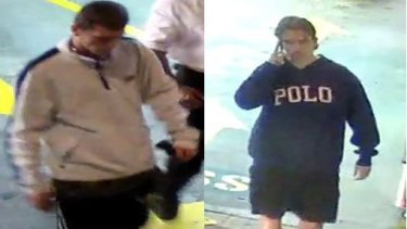 Police are seeking the men pictured for questioning over an armed robbery.