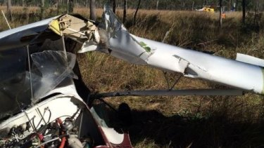 Despite the mangled wreckage of the light aircraft, the pilot is in a stable condition after being treated by paramedics.