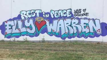The wall painted in Elly Warren's memory in Mordialloc, Melbourne.