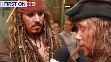 Johnny Depp visits sick kids at the Lady Cilento Children's Hospital.