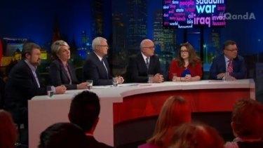Derryn Hinch, Tanya Plibersek, George brandis, Van Badham and Steve Price on the Q&A panel.