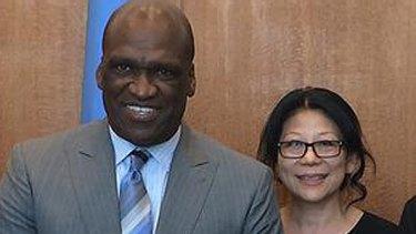 Former UN general assembly president John Ashe and Sheri Yan.