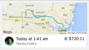 Last year's $720 fare for a 50-minute ride from North Sydney to Blacktown.